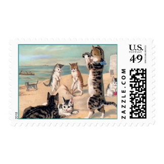 Cats Playing on the Beach Postage
