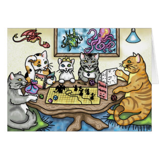 Cats Playing Pathfinder by Carrie Michael Greeting Card