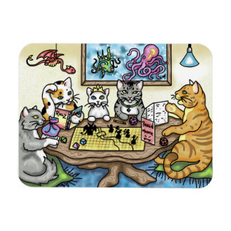 Cats Playing Pathfinder by Carrie Michael Magnet