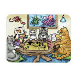 Cats Playing Pathfinder by Carrie Michael Rectangular Photo Magnet