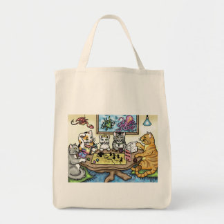 Cats Playing Pathfinder by Carrie Michael Tote Bag