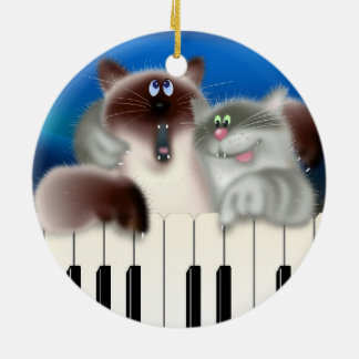 Cats Playing Piano Ceramic Ornament