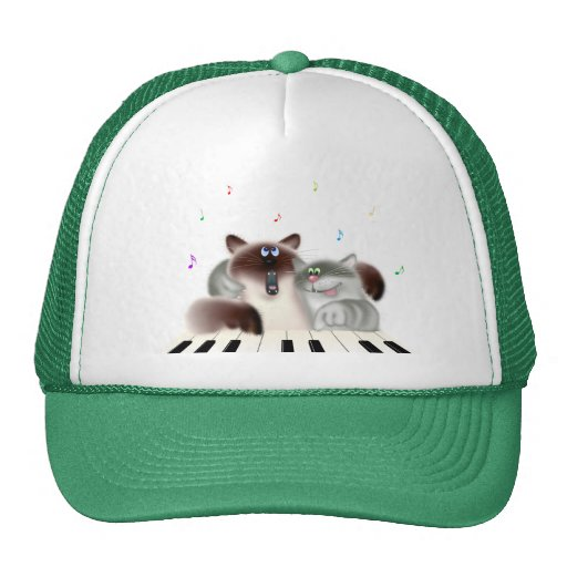 Cats Playing Piano Trucker Hat