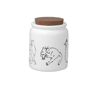 Cats Playing, Sitting and Napping -- Ink Sketch Candy Jar