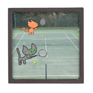 Cats Playing Tennis Premium Jewelry Box