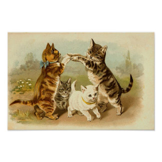 Cats Playing Vintage Illustration Poster