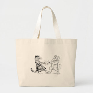 Cats Pulling Cracker Large Tote Bag
