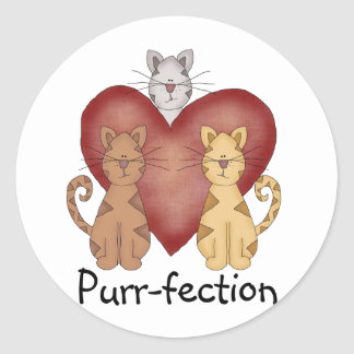 Cats Purr-fection Tshirts and Gifts Classic Round Sticker
