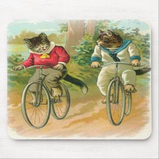 Cats Riding Bikes Mousepad