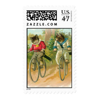 Cats Riding Bikes Postage