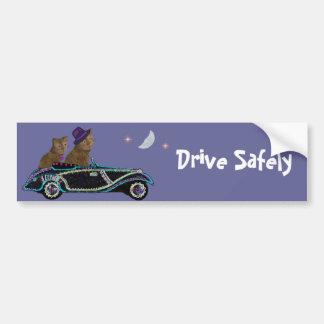 Cats Road Trip Drive Carefully Bumper Sticker