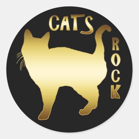 CATS ROCK CLASSIC ROUND STICKER