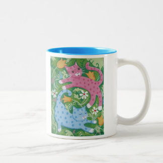 Cats Romp in a Garden Two-Tone Coffee Mug