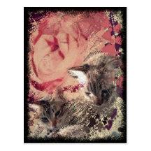 Cats roses nuclear symbols art postcard