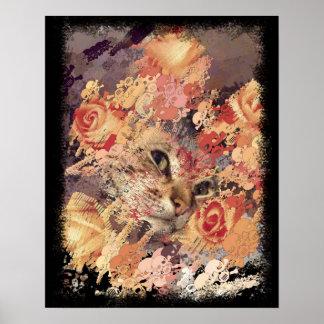 Cats roses skulls halloween poster