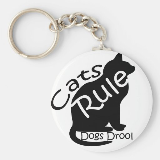 Cats Rule Basic Round Button Keychain
