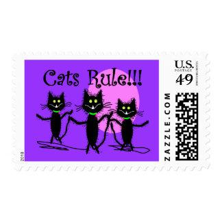 Cats Rule!!!  Black Cat Design...adorable Postage Stamp