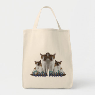"""Cats Rule"" blue striped text/ four felines Tote Bag"