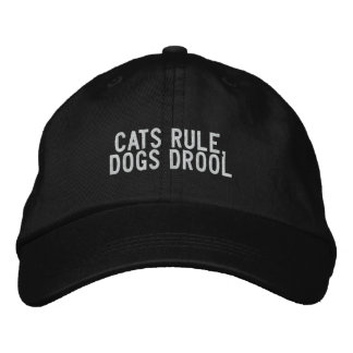 Cats rule, dogs drool embroidered baseball caps