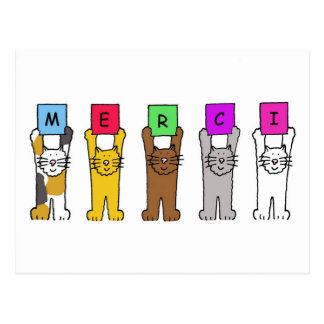 Cats saying 'Merci', thanks in French. Postcard