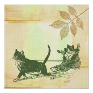 Cats Shoe Sled Poster