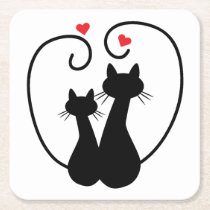 Cats silhouette for cat lovers square paper coaster