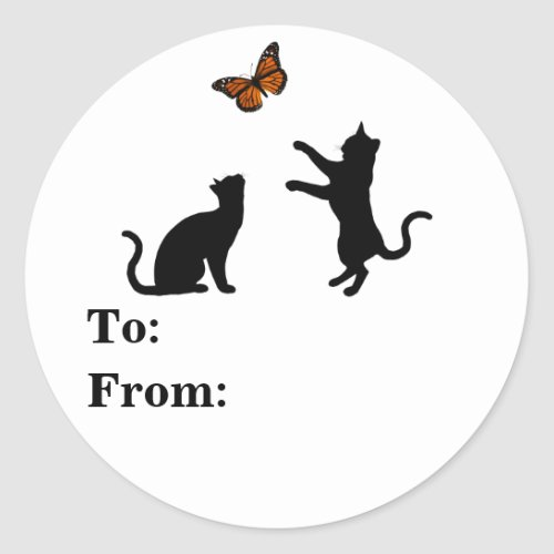 Cats Silhouettes With Butterfly Classic Round Sticker
