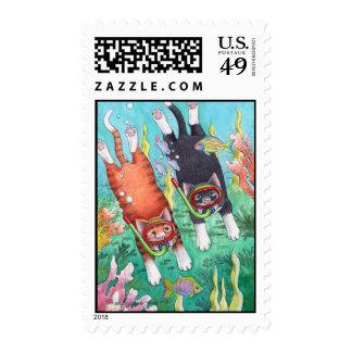Cats Snorkeling Stamp Bud Tony
