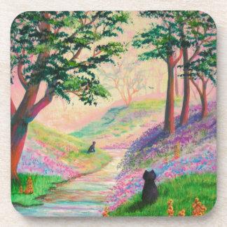 Cats Spring Summer Floral Art Creationarts Coaster
