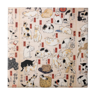 Cats suggested as the fifty three stations of the ceramic tile