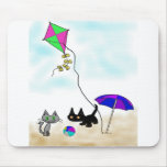 Cats Summer Fun At The Beach Mouse Pad