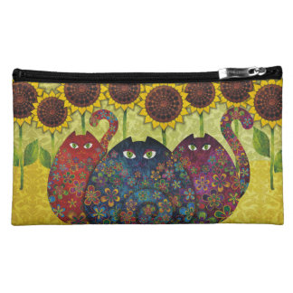 Cats & Sunflowers Make Up Pouch Cosmetic Bag