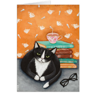 Cats, Tea, and Books Card
