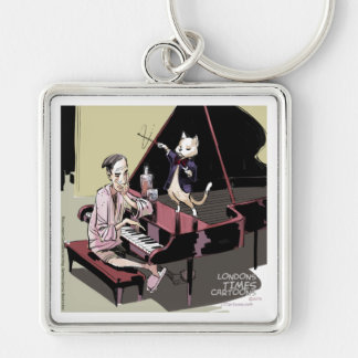 Cats That Take Over & Conduct Everything Funny Silver-Colored Square Keychain