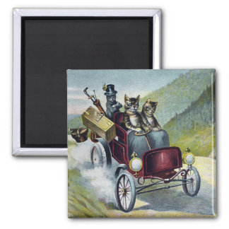 Cats Touring the Catskill Mountains 2 Inch Square Magnet