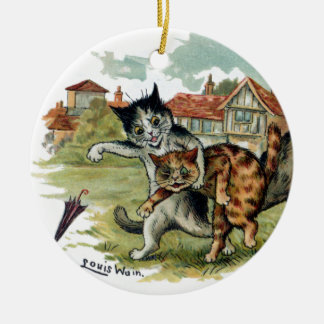 Cats Trade Punches Ceramic Ornament