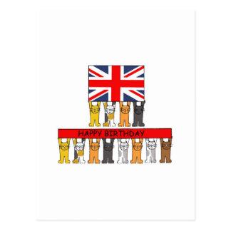 Cats UK Birthday. Postcard