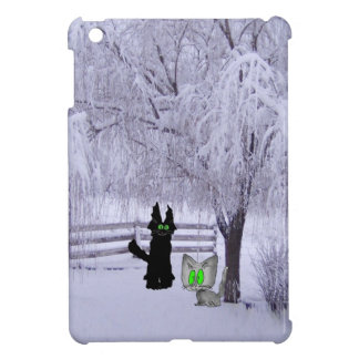 Cats Under A Snowy Tree iPad Mini Cases