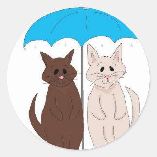 Cats Under An Umbrella Classic Round Sticker