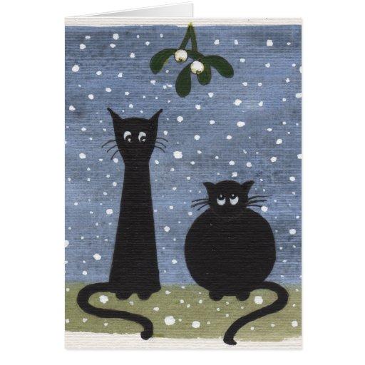 cats under mistletoe card