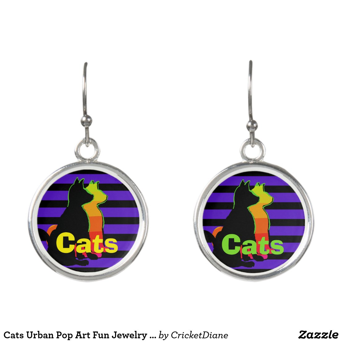 Cats Urban Pop Art Fun Jewelry CricketDiane Earrings