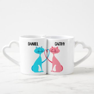 cats valentine CUSTOMIZABLE lovers mugs