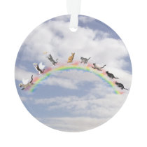 Cats Waiting At Rainbow Bridge Ornament