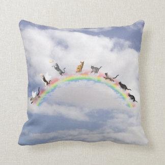 Cats Waiting At Rainbow Bridge Throw Pillow
