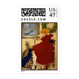 Cats Waiting Christmas Postage