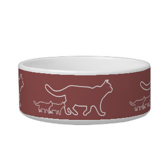 cats walking outline graphic bowl
