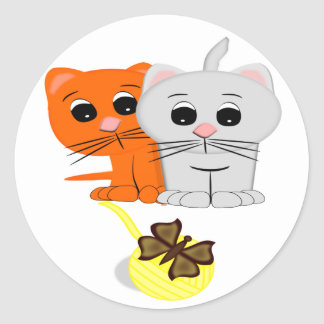 Cats Watching A Butterfly On A Ball Of Yarn Classic Round Sticker