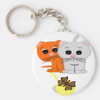 Cats Watching A Butterfly On A Ball Of Yarn Basic Round Button Keychain