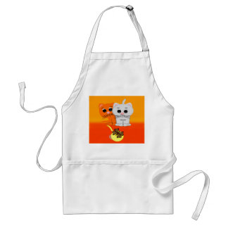 Cats Watching Butterfly On A Ball Of Yarn Adult Apron