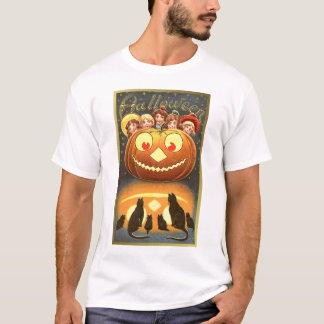 Cats Watching Kids and Pumpkin Dark Tees